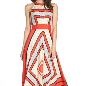 Eliza J Scarf Print Crepe Fit and Flare Maxi